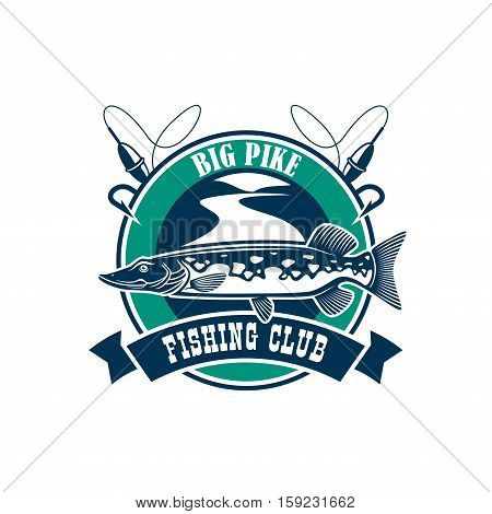 Fishing club isolated icon. Vector fisherman adventure and camping sport sign or badge with circle emblem and big pike fish, fishing rod with floats on river water and ribbon design