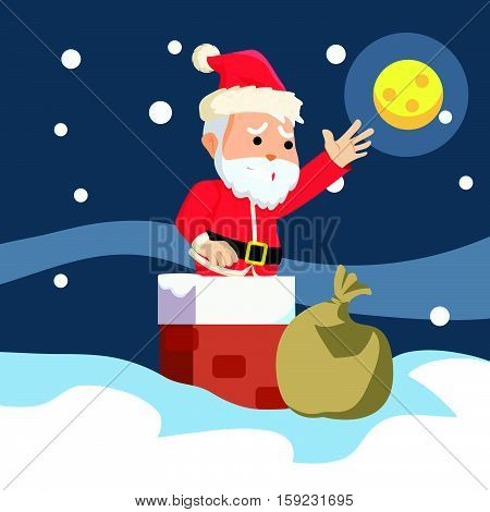 santa stuck in chimney illustration design eps10 vector illustration design