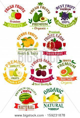 Fruit juice drink isolated icons and badges. Vector juicy apple, guava, grape, orange, pomegranate and pear, plum, pomelo, watermelon, lemon citrus