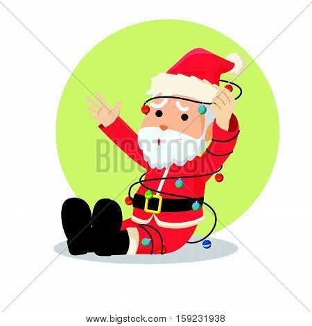 santa tangled in christmas lights eps10 vector illustration design