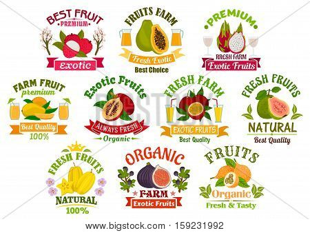 Juice fruits icons. Fruit juice drinks badges with ribbons. Vector lychee, papaya, tropical dragon fruit and mango, exotic tamarillo with passion fruit maracuya, guava, carambola and figs