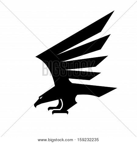 Eagle isolated sign. Vector heraldic black falcon bird symbol with spread wings. Hawk geometric shape design for sport team mascot, army, military shield, security coat of arms