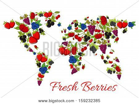 Berries world map of vector fresh berries grape and strawberry, raspberry and blueberry, blackberry and cherry, blackcurrant, redcurrant, gooseberry, cranberry