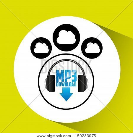 music cloud connection download mp3 graphic vector illustration eps 10