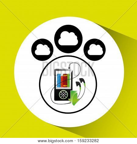 music cloud connection mp3 book audio graphic vector illustration eps 10