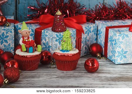 Christmas Cupcakes With Colored Decorations