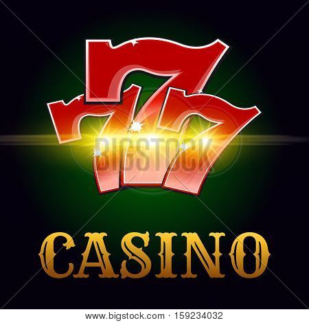 Casino poker game vector poster. Successful jackpot lucky number 7 in golden sparkling light and Vegas style letters on green poker game table background for bets or casino roulette advertising