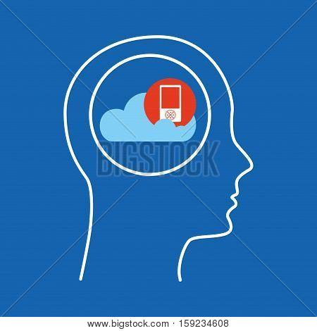 head silhouette cloud mp3 music vector illustration eps 10