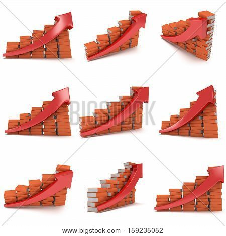 3d render colored stack of books bar graph chart with red arrow growing up on white set. Grow, chart, business statistic studing back to school education concept