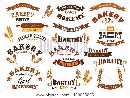 Bakery shop vector signs, icons and badges. Isolated banner and ribbons with stars and rolling pin. Cereal grain harvest symbols for bakery bread shop, pastry and patisserie desserts