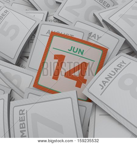 3d rendering random calendar pages jun 14