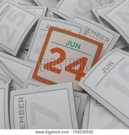 3d rendering random calendar pages jun 24