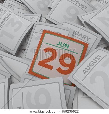 3d rendering random  calendar pages jun 29