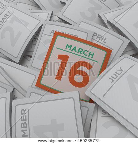 3d rendering random  calendar pages march 16
