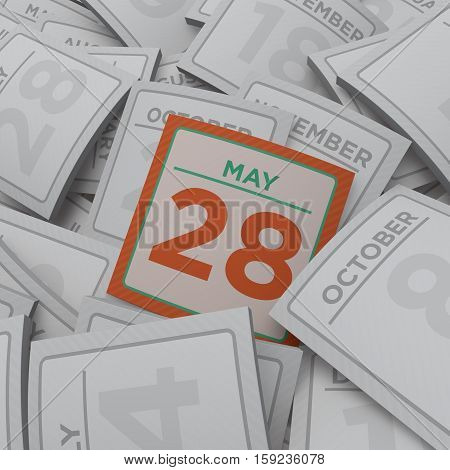 3d rendering random calendar pages may 28