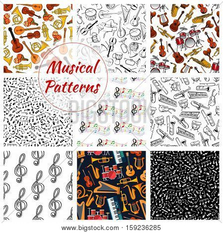 Musical instruments patterns. Vector seamless background of harp, trumpet, guitar and violin, contrabass and piano, music notes stave, maracas, saxophone, cymbals with drums