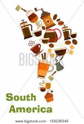 South Africa coffee map symbol. Vector coffee beans in mills, coffee makers, hot cappuccino mugs with chocolate. Coffee drinks of mocha, latte coffee, biscuit dessert