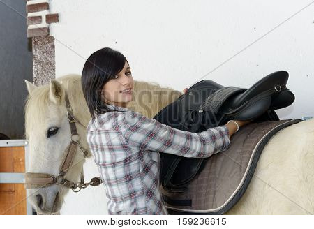 Beautiful young brunette girl and white horse in the stale