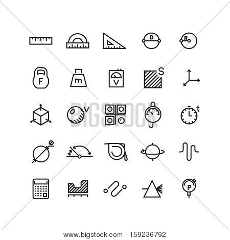 Measure, precision measurement vector thin line icons. Measure width of length, area and volume ilustration