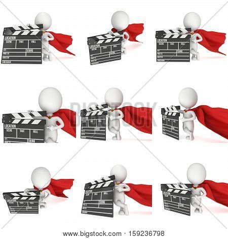 Brave superhero with cinema clapperboard set. 3D render isolated on white. Filmmaking and video production.