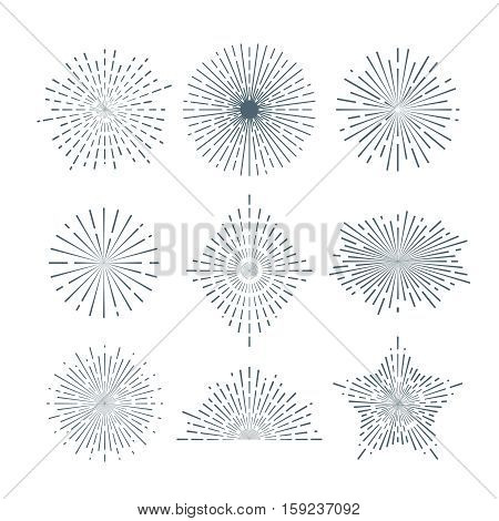 Hand drawn sunburst, vintage radial burst, abstract line sunshine vector collection. Radiant ray line, sunshine radial rays illustration