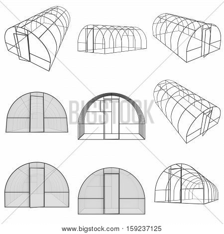 Greenhouse construction frame set. Hothouse building object collection. Warm house 3d render illustration isolated on white. Glasshouse concept image