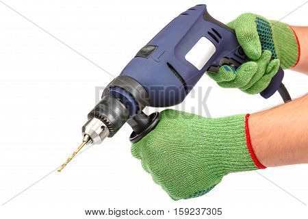 Hammer drill or screwdriver in hand isolated on white background.