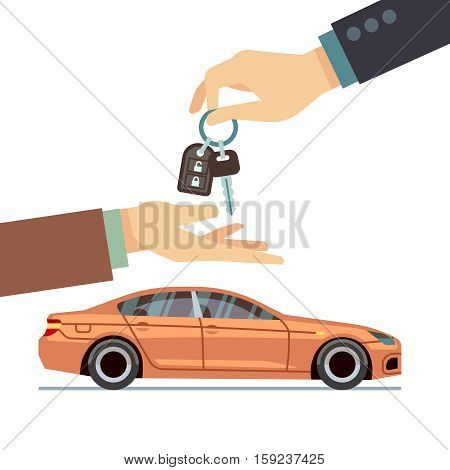 Car seller hand giving key to buyer. Buying or renting car business vector concept. Illustration of sale car purchase