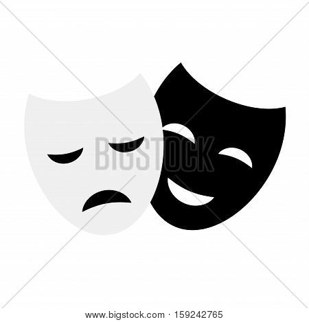Comedy and tragedy theatrical masks comedy symbol. Vector theater humor performance face. Tragedy drama emotion masquerade carnival costume expression.