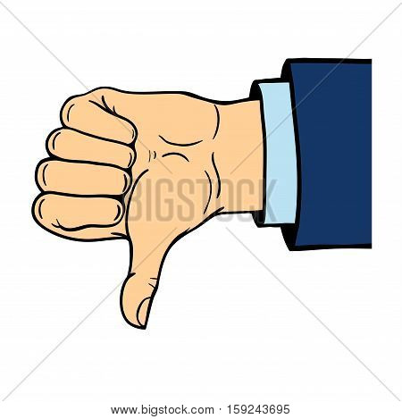 Dislike hand symbol. Human hand shows thumb down isolated on white background. Negative emotion concept. Communication vote finger gesturing.
