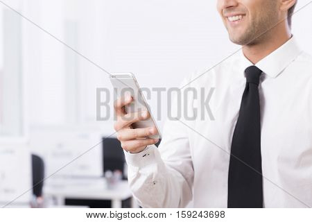 Elegant Man Choosing Phone Number