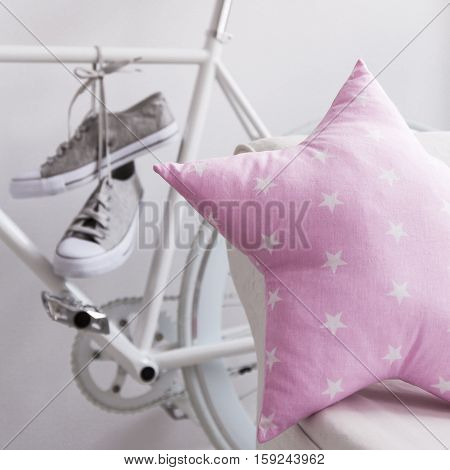 Pink Star Pillow And Bike With Trainers