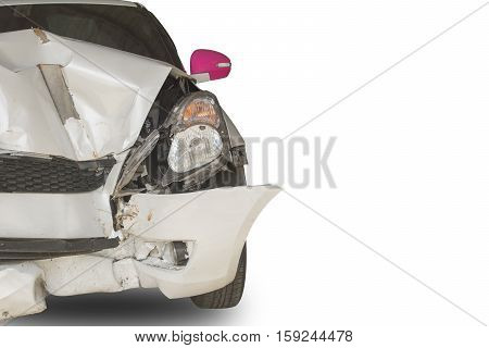 White car accident front side isolated on white with clipping path