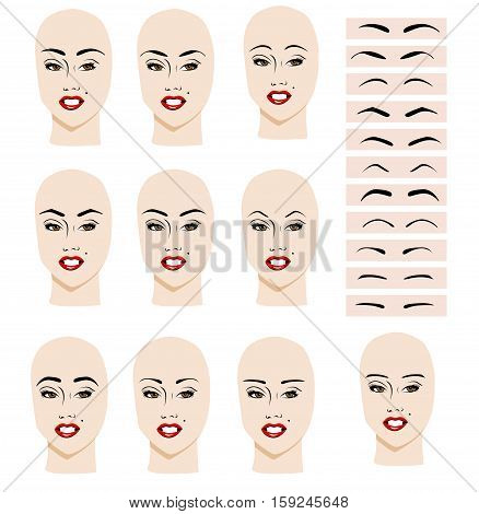 Eyebrows of different shapes on the face of a girl