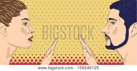 Woman and amale loving couple tender touch touching hands love face to face profile. Vector horizontal beautiful lovely sign signboard close-up side view illustration color background