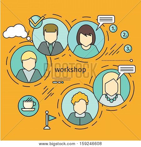 Workshop horizontal vector concept in flat style. Self development, personal qualifying training. Illustration for educational companies, career courses advertising, web page design