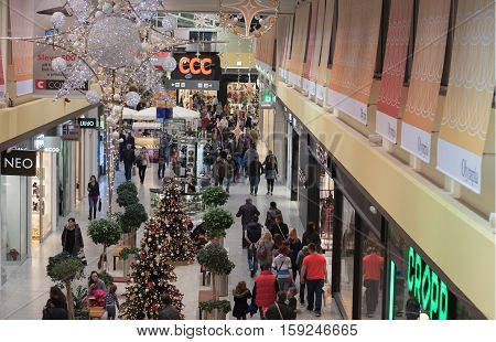 BRNO,CZECH REPUBLIC-NOVEMBER 19,2016:Christmas decoration at shopping center Olympia on November 19, 2016 Brno Czech Republic