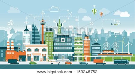 Smart city with contemporary buildings people and traffic; networks connection and internet of things icons on top