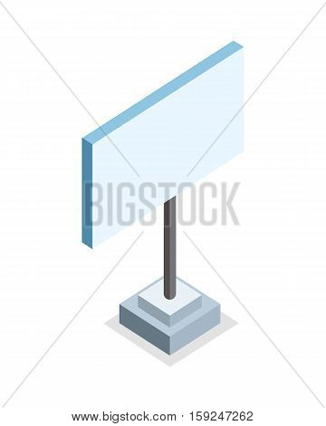 Isometric blank advertising billboard on base. Blank street billboard. Standing is prohibited. City isometric object in flat. Isolated vector illustration on white background.