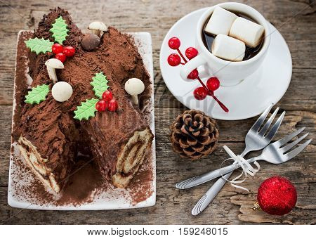 Christmas Bush de Noel - homemade chocolate yule log cake Christmas and New Year holiday traditional recipe