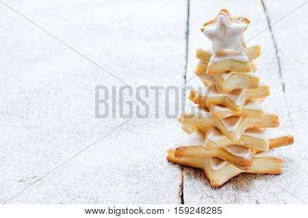 Christmas Tree cookies with icing space fir text