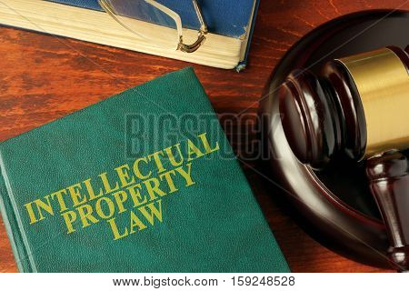 Book with title intellectual property law on a table.