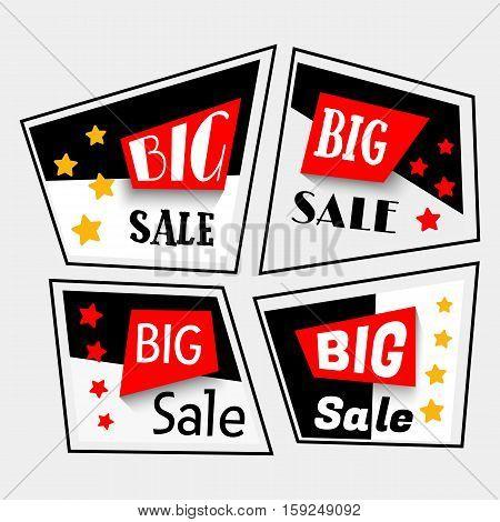 Black Friday sale banner set. Vector illustration