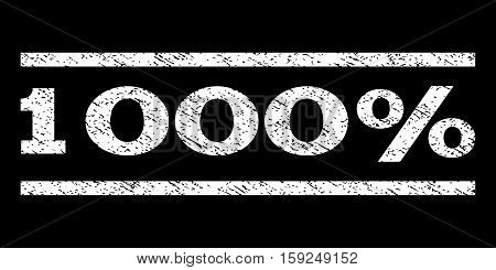 1000 Percent watermark stamp. Text tag between horizontal parallel lines with grunge design style. Rubber seal white stamp with unclean texture. Vector ink imprint on a black background.