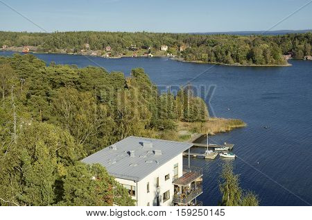 High angle view of apartment buildning in Nynashamn - Sweden.