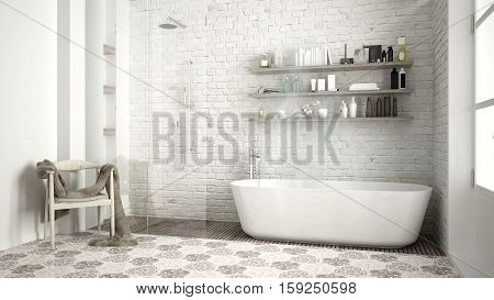 Scandinavian bathroom classic white vintage interior design, 3d illustration