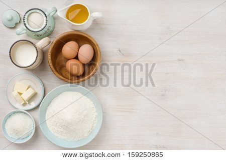 Baking ingredients background baking concept top view with copy space