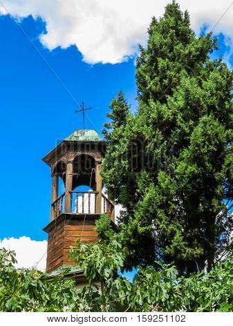 Old wooden belltower. Temple of the Dormition of the Theotokos. Varna, Bulgaria