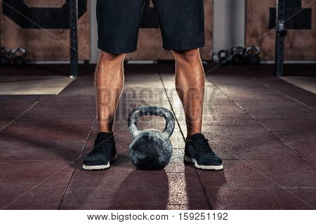 kettlebell training in gym closeup. Healthylife concept