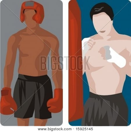 Sport illustrations series. A set of 2 boxers.